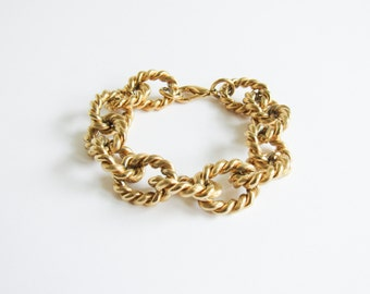Rope Chain Link Bracelet / Gold Nautical Rope / Open Link / Chunky / Vintage Bracelet