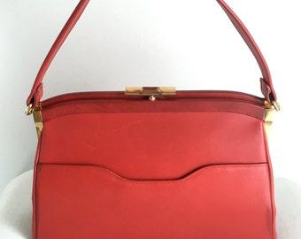 Vintage Dafan Red Leather Handbag Made in France