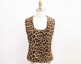 Vintage 1960s Blouse | Leopard Print Corduroy 1960s 50s Blouse | size small - medium