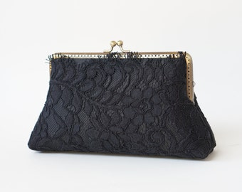 Cocktail clutch /  Black French  Lace clutch with Wristlet Chain / Formal purse / Bridal Accessories
