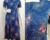 Vintage Retro Teal Pink Flower 40s Style Pleated Secretary Tea Dress 10 38