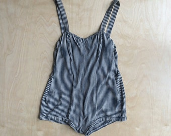 Aqua Teens of California Vintage 1950s Black & White Gingham Play Suit Bathing Romper