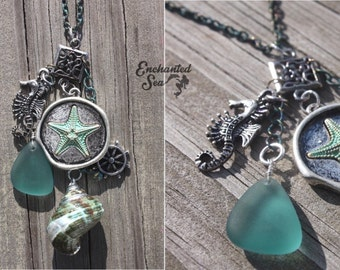 Magical Mermaid Collection ~ Shells, Sea Glass, & Charms!  Long Necklace