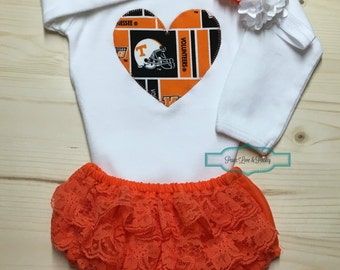 Vols Bodysuit, Lace Diaper Cover and Headband Set Made from Univeristy of Tennessee Fabric, Tennessee Vols Baby Outfit, Baby Girl Vols