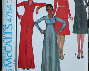 McCall 4754 1970s 70s Stephen Burrows Knit Cowl Maxi Dress  Vintage Sewing Pattern Size 12 Bust 34