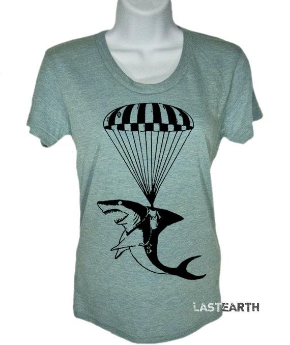 Women's T-Shirt Shark on a Parachute Tshirt - Shark Week Tee - Gift - Nautical Shirt - Jaws - Beach Top - Gifts For Her Swimming Swim Shirt