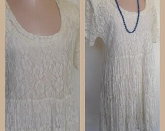 Vintage Lace Dress by American Angel Size Medium Ivory Lace Wedding Bride