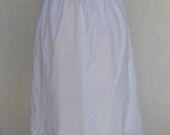 Vintage Half Slip Sliperfection White Cotton Poly Blend Large Eyelet Trim
