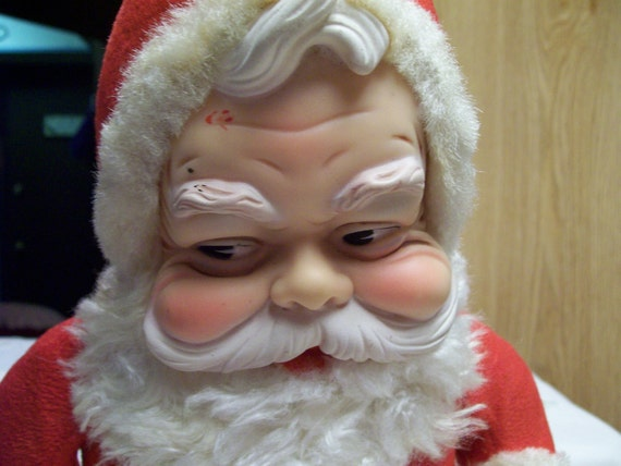 Vintage Rushton Santa Claus Doll Rubber Face And Boots