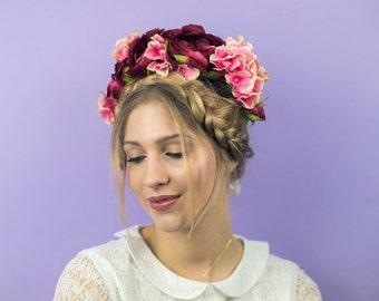 Oversize Peony and Hydrangea Crown in Plum