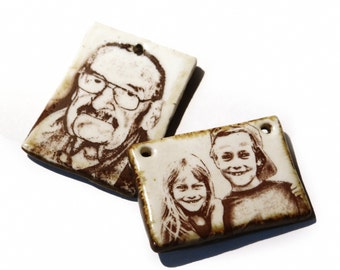 OOAK Custom Ceramic Portrait Pendant Personalised Gift