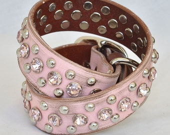 Pink Leather Dog Collar, Custom Leather Dog Collar, Pink Crystals, Dog Collar Pink Leather, size med to XXL