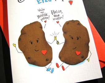 Funny Potato Pun Card -  Food Pun I Love You Card - Funny Anniversary Card - I Only Have Eyes for You