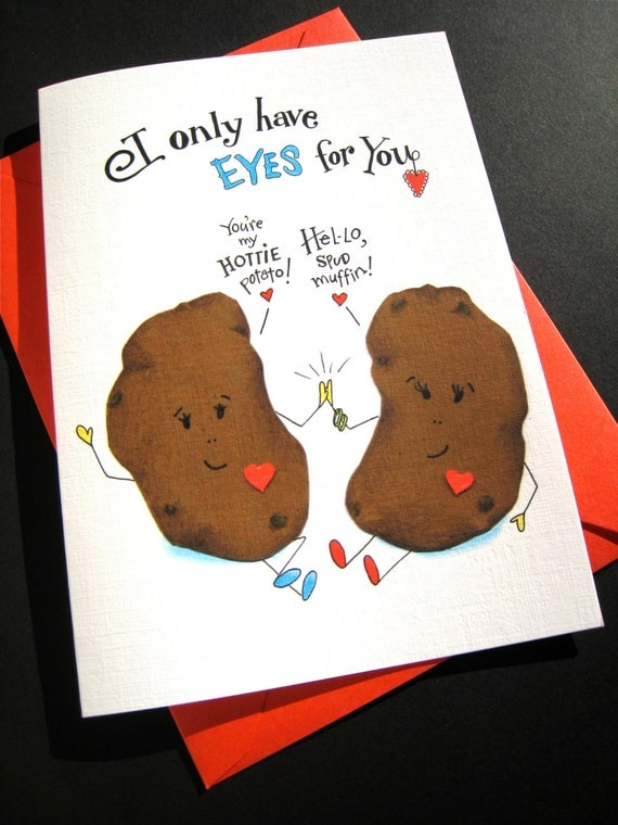 Funny Love Card - Potato Pun Card -  Food Pun - Funny Valentine - I Only Have Eyes for You