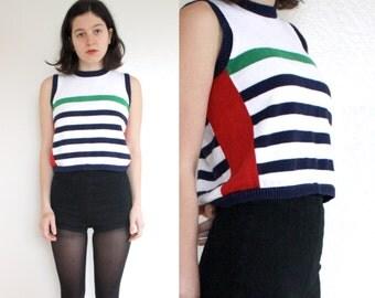 Nautical Striped Knit Tank Top Vest