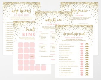 Instant Download - Confetti Shower Bridal Game Collection
