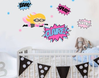 Super Hero Wall Art Etsy - Superhero wall decals for girls