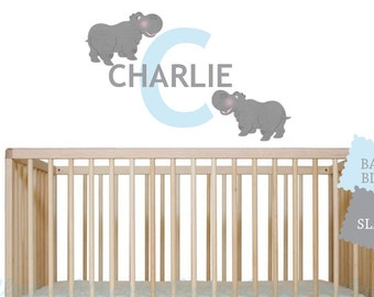 Hippo Wall Decals for Boys Nursery, Initial Name Decals, Charlie Hippo Fabric Decals, Kids Nursery Hippo Wall Art, Reusable Hippo Decals