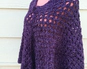 SALE ! Hand woven acrylic wool knitted purple hippie 70s poncho size: FREE