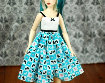 Delf Feeple 60 Blue Scotty Dog Dress For SD BJD - Last One