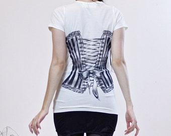 Clearance - Victorian Corset Tshirt - Womens waist cincher tee - Cream tshirt