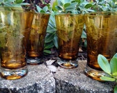 Vintage Hand Blown, Amber Etched Grape Design Water Tumblers/Cocktail Glasses