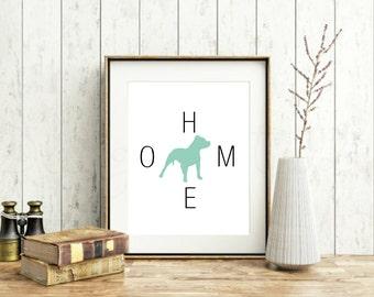 Pitbull Home Print, modern wall decor, dog lover gift, all breeds