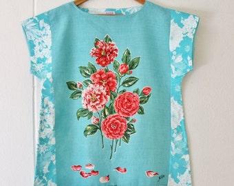 Upcycled Linen Womens Tunic  Dress Retro Eco Mini Mod Aqua Blue Pink Petals Floral Cotton Large Plus