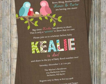 Bird family baby shower invitation, baby shower invitation with bird family, digital, printable file