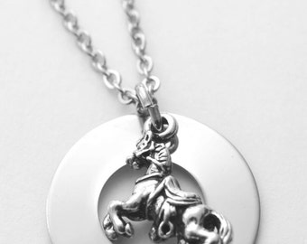 Personalized Horse necklace - Horse name necklace - stainless steel - any name