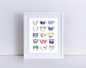Jewel Tone China Pattern Teacups Collage Antique - Giclee Print of Watercolor Painting - Chinoiserie Delft Copenhagen Tea Gift for Her