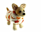 Custom Dog Coat - Faux Fur Coat for Dog - Warm Coat For Dog - Winter Coat Made With Bright Leaf Pattern and Ivory Background