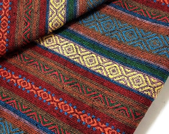 Thai Woven Cotton Fabric Tribal Fabric Native Fabric by the yard Ethnic fabric Aztec fabric Craft Supplies Woven Textile 1/2 yard (WF64)