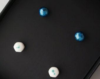 Earring Set, Stud Earrings, Blue Earrings, Blue Studs, White Earrings, Stud Earring Set, Stud Set, Minimal Earrings, Minimal Ear Studs, Gift