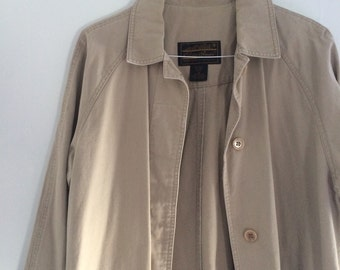Vintage Eddie Bauer Khaki Cotton Trench Coat Trenchcoat Military Style Long Jacket Petite Medium