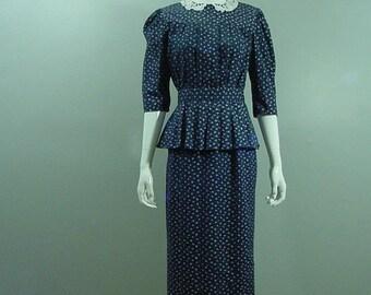 Eber Navy Peplum Dress 80s Vintage   38 / 27