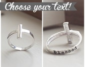 Silver Sideways Cross Ring Sterling Cross Personalized Hand Stamped Custom Rings Religious Christian Baptism Gift