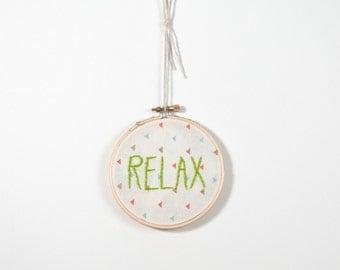 Embroidery, RELAX, Embroidery Art, Hoop Wall Art, Bohemian decor, Boho art, shabby home, shabby embroidery