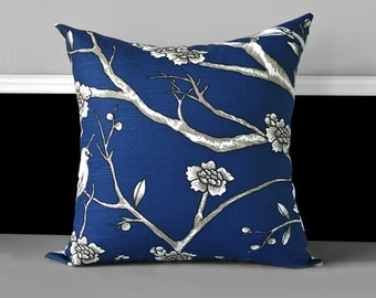 "Pillow Cover - Dwell Studio Vintage Blossom Twilight, Navy Blue 20"" x 20"""