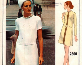 Vintage Vogue Paris Original Pierre Balmain Pattern 2360 - Misses One-Piece, Loose-Fitting, Slightly A-Line Dress w/Jewel Neckline - Size 12