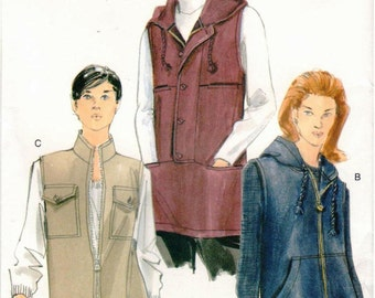 UNCUT Vogue Pattern 7124 - Misses Easy, Loose-Fitting Vests, with or without Hood, with Front Exposed Zipper - 20-24