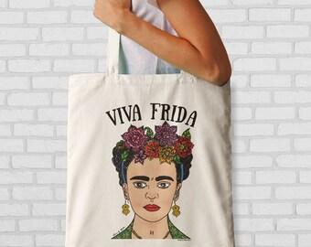 Frida Kahlo hand drawn tote bag-Viva Frida tote bag-mexican bag-custom tote-shopping bag-Frida bag-quote tote-NATURA PICTA NPTB081