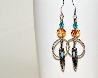 Feather Earrings, Drop Earrings, Dreamcatcher Earrings, Turquoise and Amber, Southwestern Style Dangle Earrings, Boho Earrings, Boho Jewelry