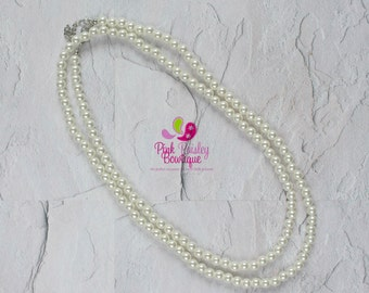 Ivory Pearl necklace, Long Beaded necklace, Ivory baby necklace, Cake Smash Photo Necklace, girls necklace, Christening Baptism Jewelry