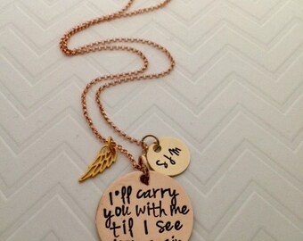 Memorial Gift Ideas - Sympathy Gifts - Personalized Memorial Necklace - Rose Gold Jewelry - Hand Stamped Memorial - Angel -The Charmed Wife