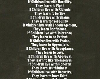 Daycare Nursery Decor, Children Learn What They Live Poem, Blackboard Chalk Art