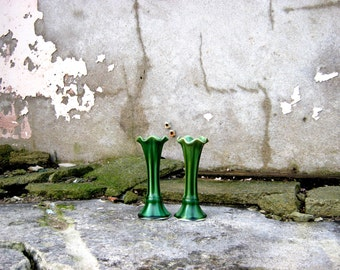 Pair of Art Nouveau Vases in Green Lily Design