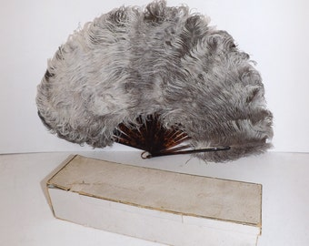Antique Victorian Edwardian large real ostrich marabou feather fan cream and mink brown faux tortoiseshell struts in original box