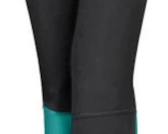 BLACK Teal Yoga PANT / Sale 39.00 / FREE usa Ships Now / Pull on Pant / Black Legging w Zip Pocket / Black Tights / Workout Pant / xs sm md