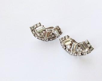 Art Deco Rhinestone Earrings Retro Glamour Clip On Bridal Wedding Fashion Jewelry